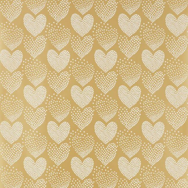 Heart of Hearts Wallpaper, Ivory/Gold
