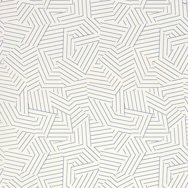 Deconstructed Stripe Wallpaper, Cobalt