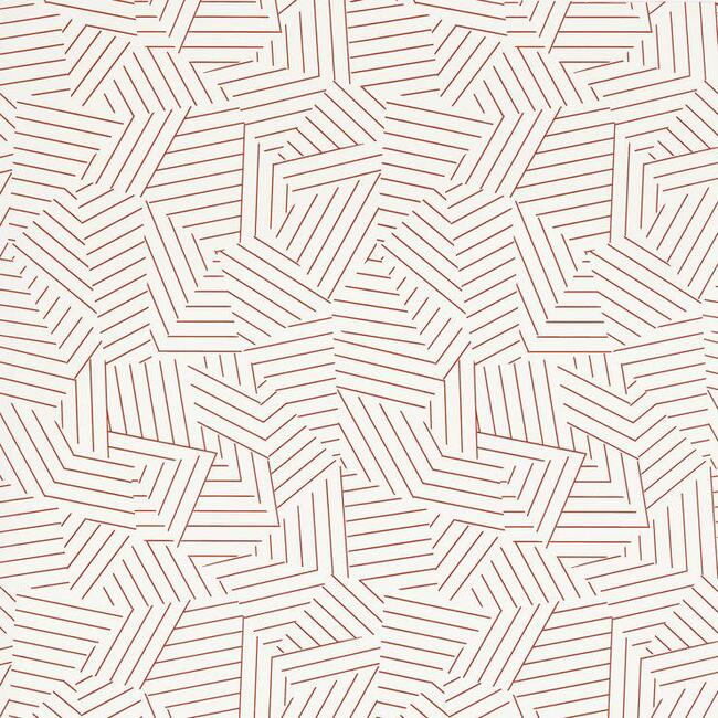 Deconstructed Stripe Wallpaper, Red
