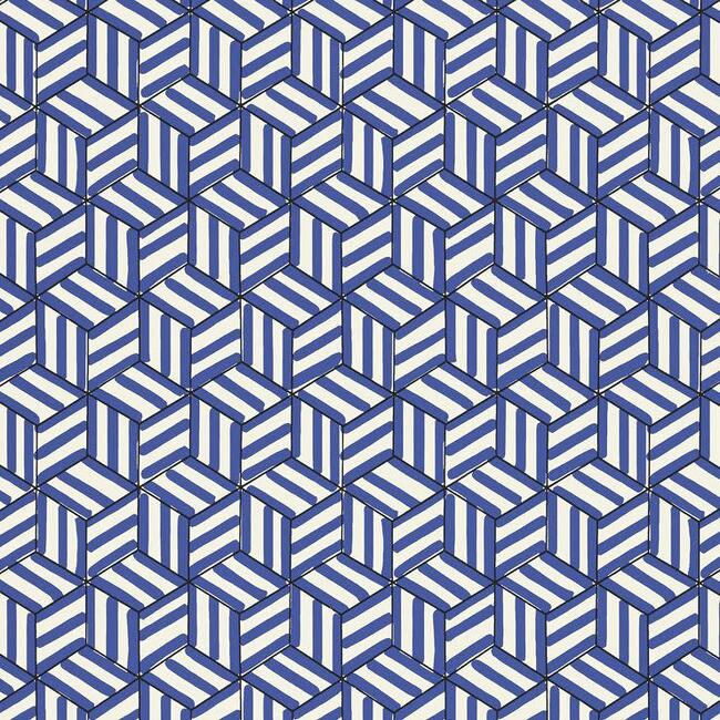 Tumbling Blocks Wallpaper, Cobalt