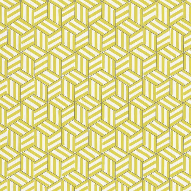 Tumbling Blocks Wallpaper, Citron