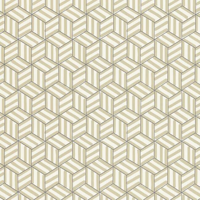 Tumbling Blocks Wallpaper, Greige