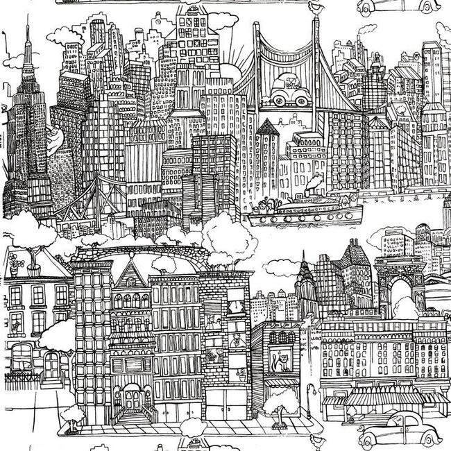New York New York Wallpaper, Black/White - Wallpaper - 1