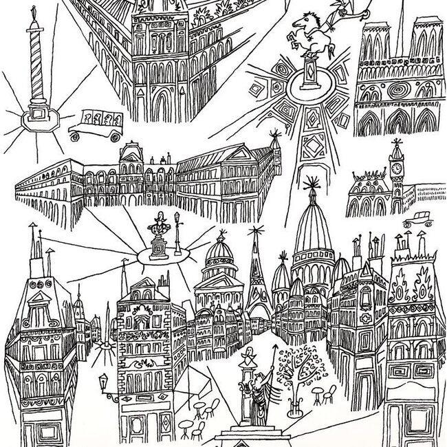 View of Paris Wallpaper, Black/White