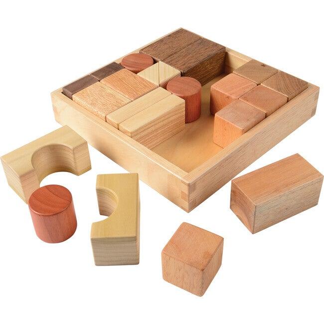 Natural Wooden Building Blocks, Tan