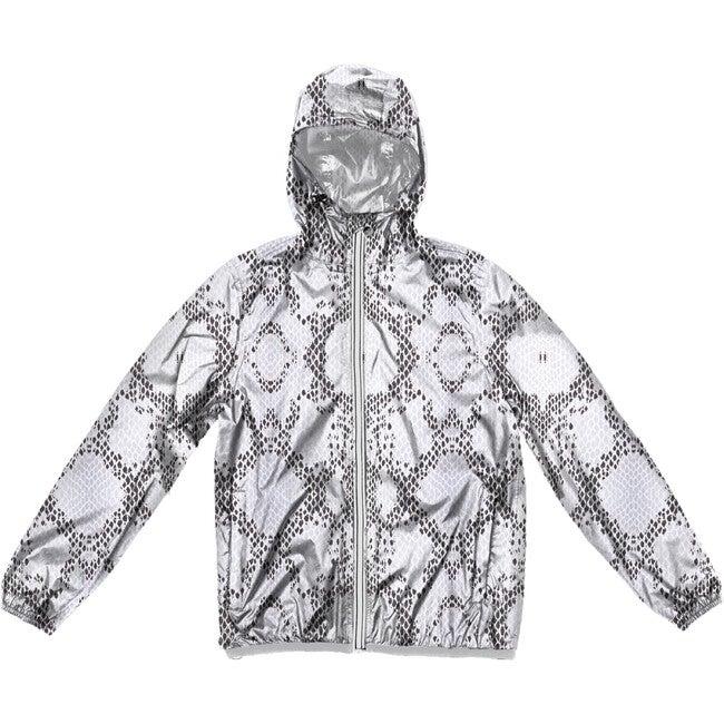 Women's Sloane Print Packable Rain Jacket, White Python - Raincoats - 1