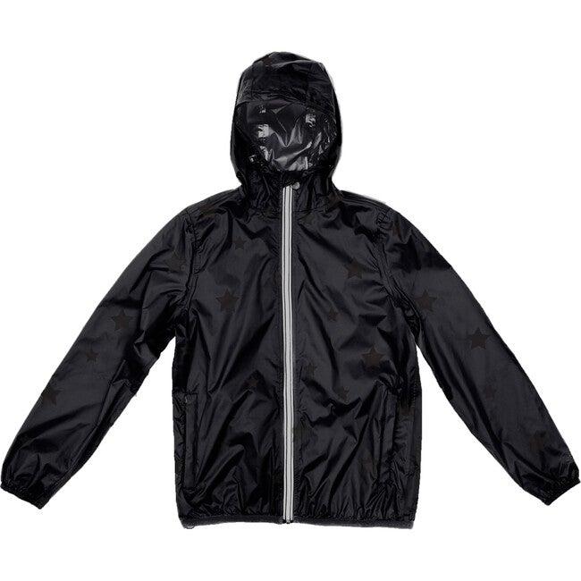 Women's Sloane Print Packable Rain Jacket, Black On Black Gloss Stars - Raincoats - 1