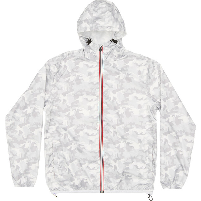 Sam Print Packable Rain Jacket, White Camo