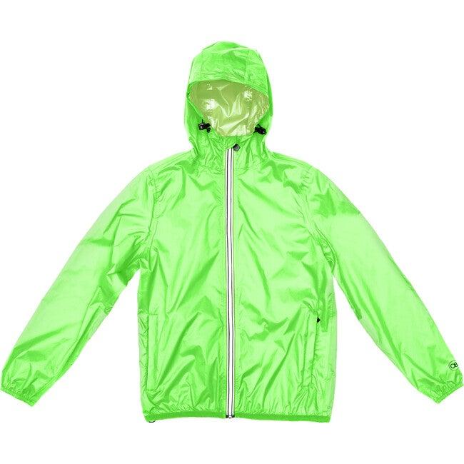 Adult Unisex Mel Full  Zip Packable Rain Jacket, Green Fluo