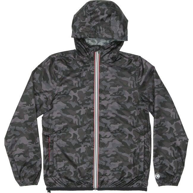 Men's Max Print Packable Rain Jacket, Black Camo - Raincoats - 1