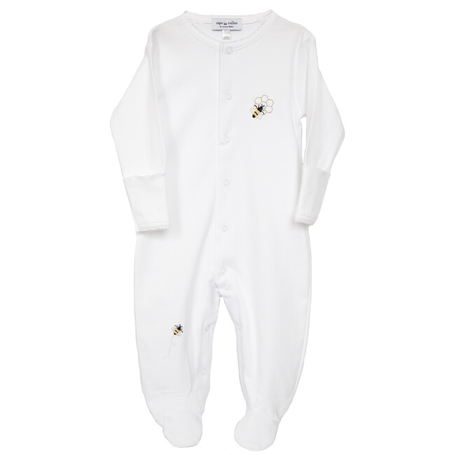 Bumble Bee & Honeycomb Hand Embroidered Footie