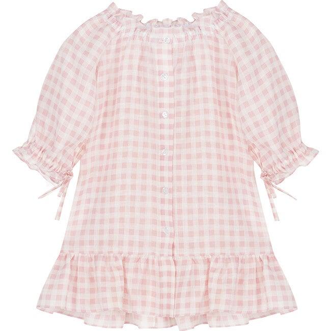 Linen Petit Dress Dress, Pink Vichy
