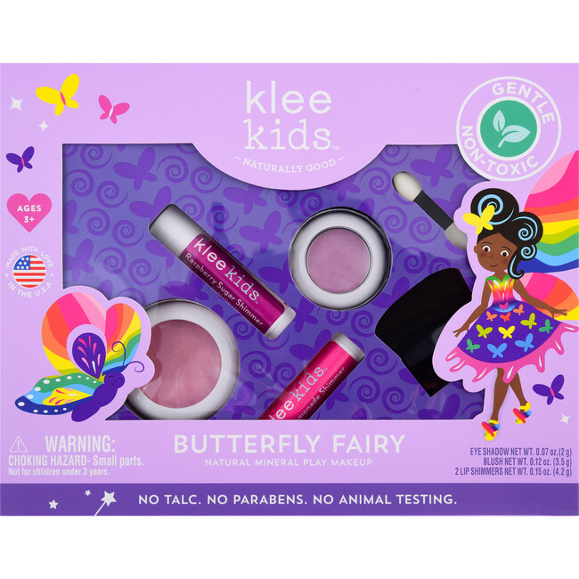 Butterfly Fairy 4-Piece Natural Play Makeup Kit with Pressed Powder Compacts - Beauty Sets - 1