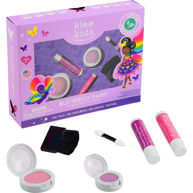 Butterfly Fairy 4-Piece Natural Play Makeup Kit with Pressed Powder Compacts