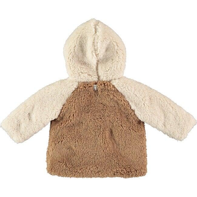 Fuzzy Zip Up Jacket, Brown and Ecru