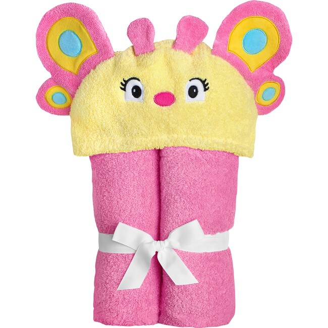 Butterfly Hooded Towel, Pink/Yellow
