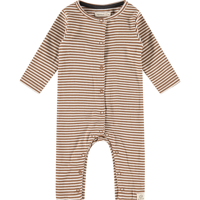 Striped Long Sleeved Jumpsuit, Chocolate