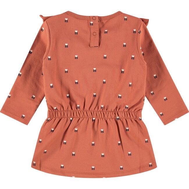Ruffle Floral Dress, Burnt Orange