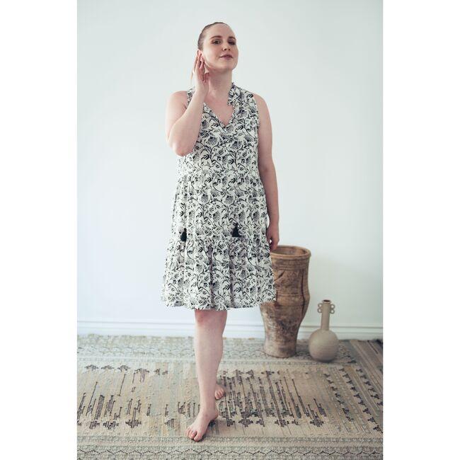 Women's Sienna Dress,  Black and White Boho
