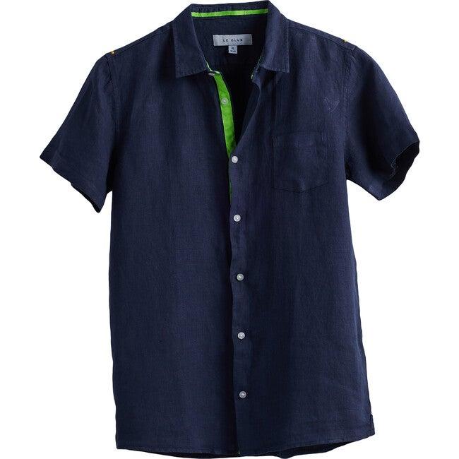 Peter Boys Linen Shirt, Navy