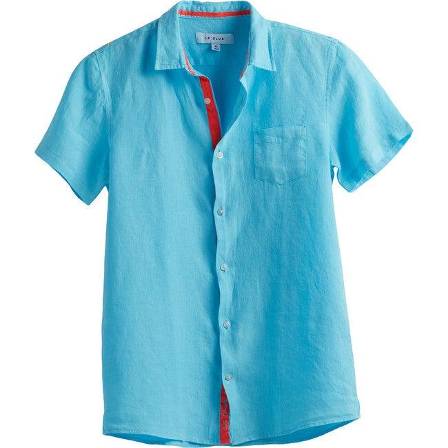 Peter Boys Linen Shirt, Aqua - Shirts - 1