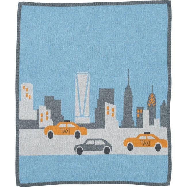 New York City Cotton Cashmere Blanket, Blue