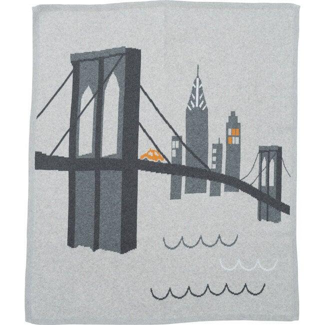 Brooklyn Bridge Cotton Cashmere Blanket, Grey