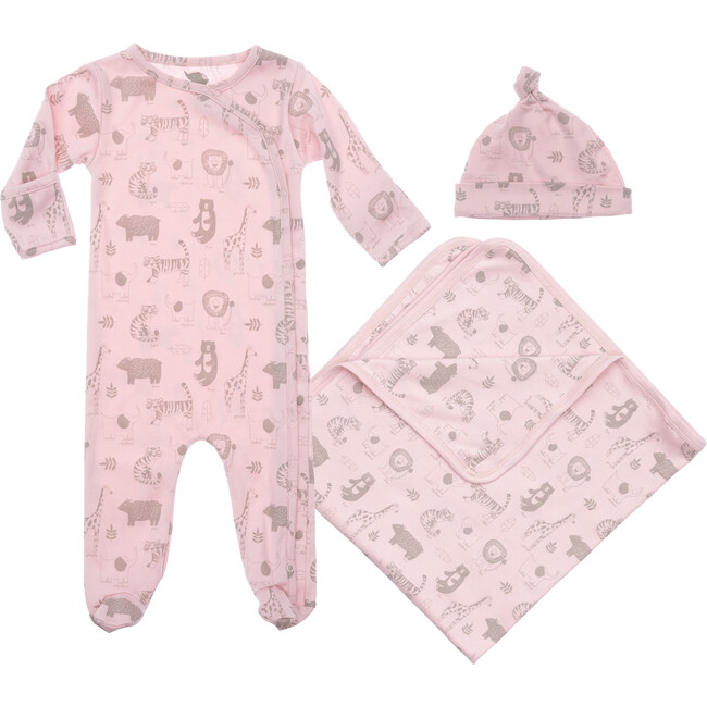 Baby Animals Layette Gift Set, Pink - Mixed Apparel Set - 1