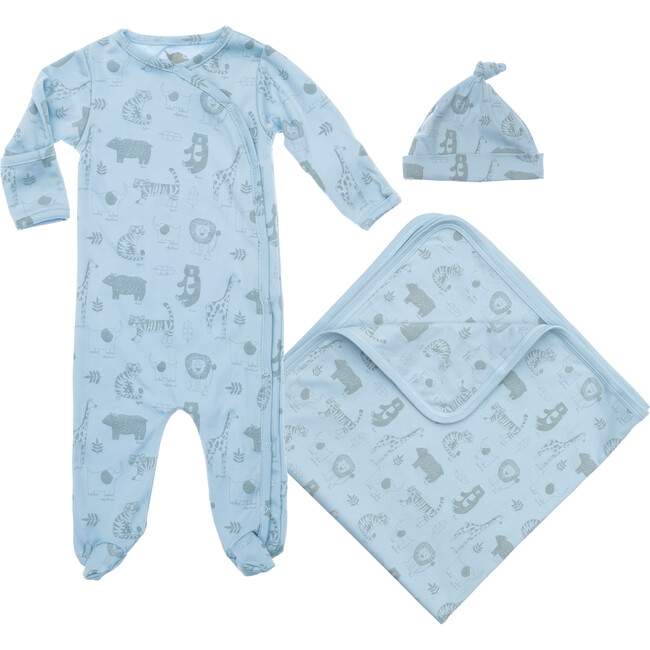 Baby Animals Layette Gift Set, Blue - Mixed Apparel Set - 1