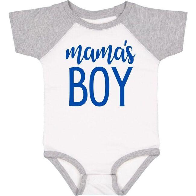 Mama's Boy Short Sleeve Bodysuit, White & Heather - Shirts - 1