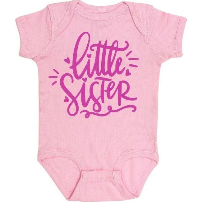 Little Sister Doodle Short Sleeve Bodysuit, Light Pink