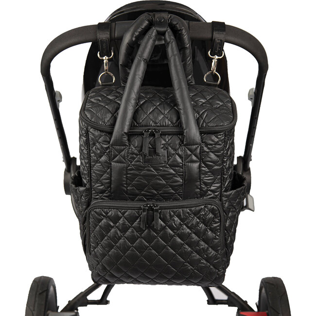 London Quilted Diaper Backpack, Black