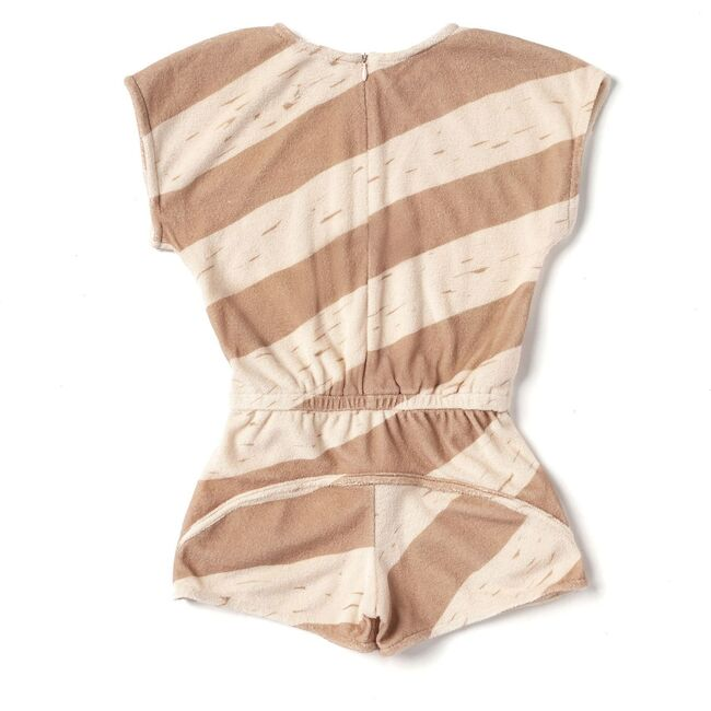 Terry Romper with Stripes, Mocha