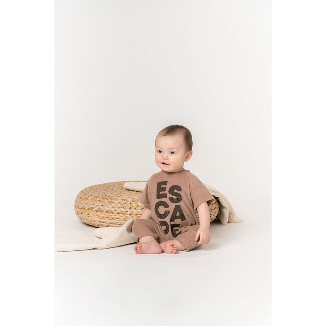 Baby One Piece with ESCAPE Print, Mocha