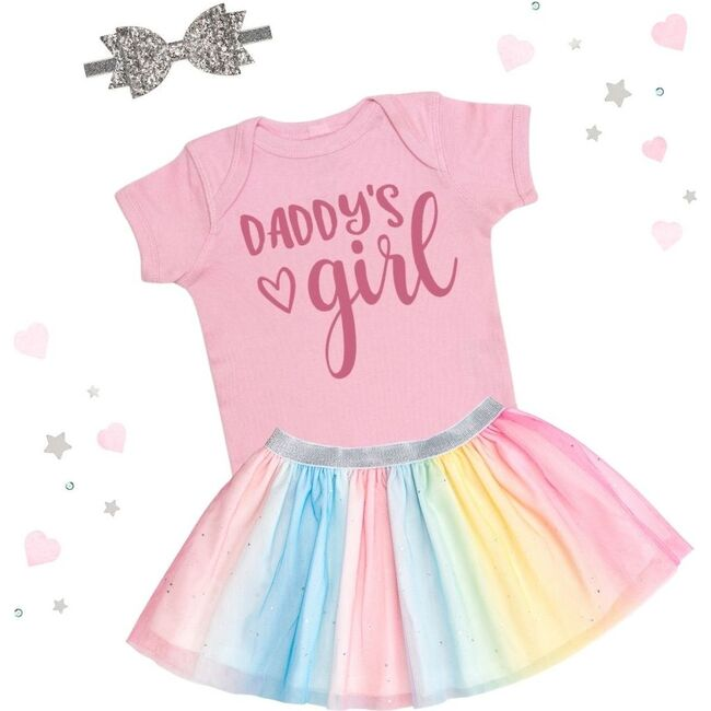 Daddy's Girl Short Sleeve Bodysuit, Light Pink