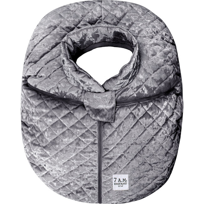 Car Seat Cocoon, Quilted Grey Velvet - Car Seat Accessories - 1