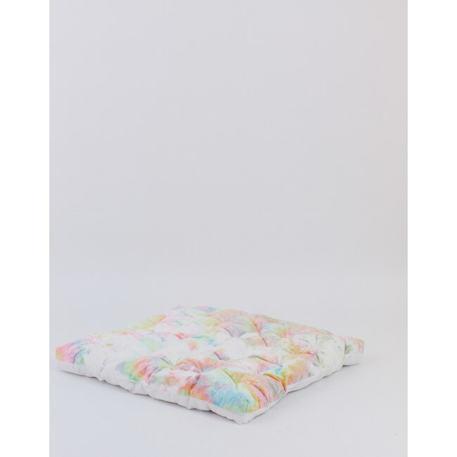 Faux Fur Padded Play Mattress, Rainbow Tie-Dye