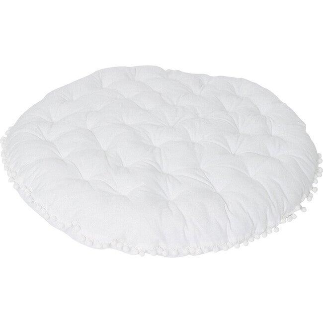 Round Padded Play Mattress, White Pom Pom