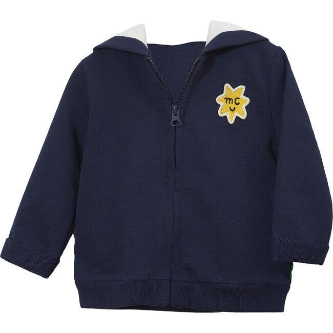 Zipped Hoodie, Navy