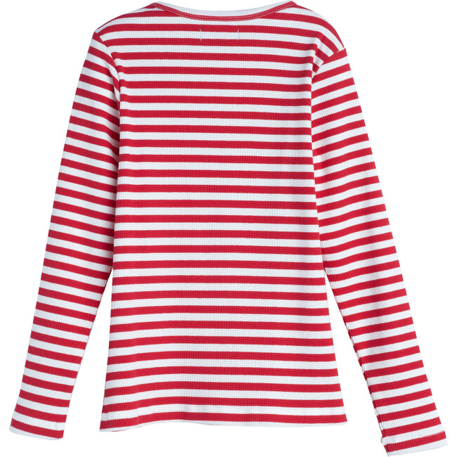 Ruby Ribbed Long Sleeve, Red Stripe