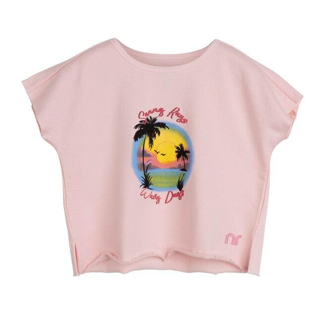 Sawyer Cropped Tee, Light Pink - Shirts - 1