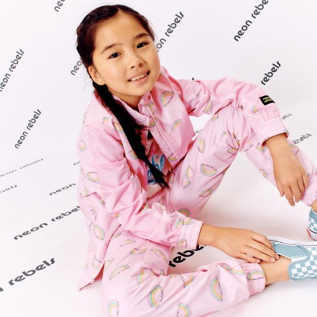 Lennon Track Pant, Pink Salt Rainbow