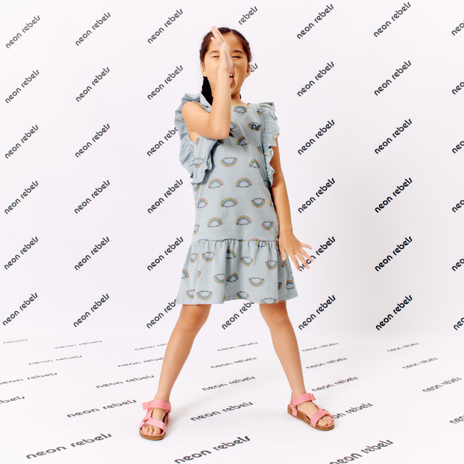 Coco Ruffle Dress, Xenon Blue Rainbow