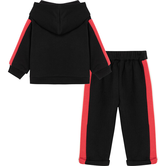 Baby Hoody With Contrast Taping Set, Black