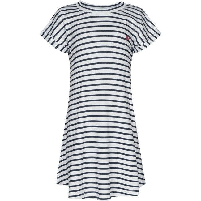 Pima Dress, Navy Stripes