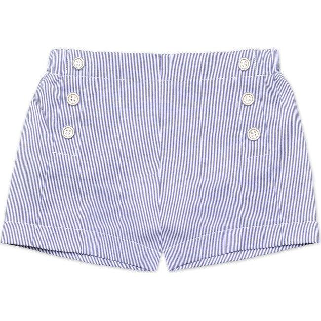 Sailor Button Shorts, Navy Seersucker Stripe