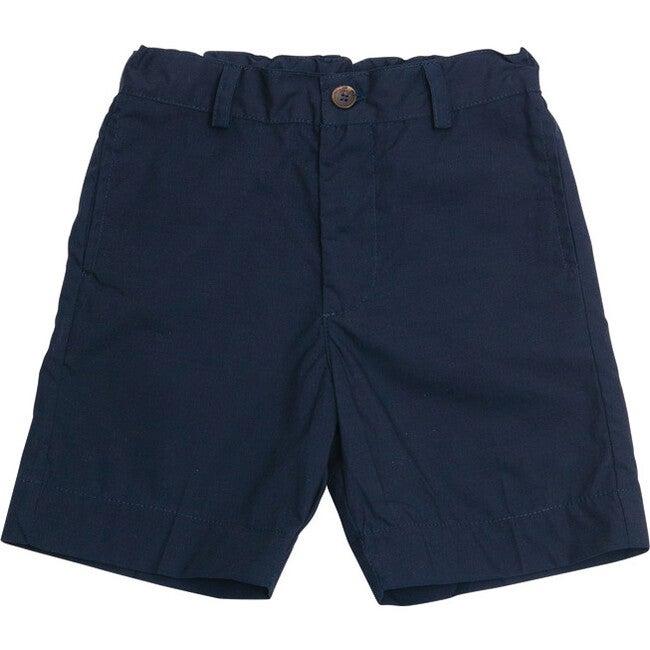 Alex Flat Front Shorts, Navy Cotton Poplin