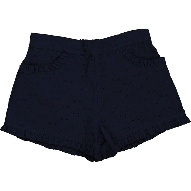 Phoebe Pocket Shorts, Navy Eyelet