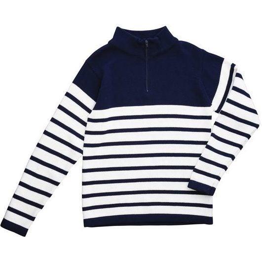 Zip Sweater, Navy and White Stripe