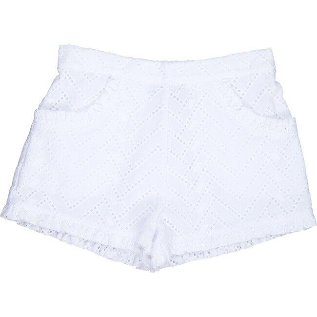Phoebe Pocket Shorts, White Eyelet